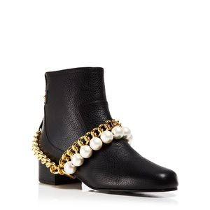 NEW Moschino Boutique Pearl Chain Leather Boots
